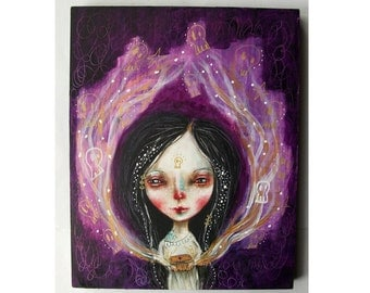 Original Pandora girl painting whimsical fantasy mixed media art painting on wood canvas 8x10 inches - Pandora's Box
