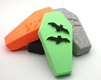 Coffin with Bats Bath Bomb - bath bombs, bath fizzy, bath fizzies, halloween bath bomb, casket, grave, spooky, party favor, trick or treat