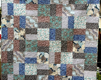 Gray Muted Flowers Quilt