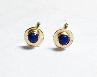 Gold studs, 14k Gold earrings, Stud Earrings,Blue Lapis Earrings, Anniversary Earrings, Gift For Her, Clip On Earrings, Lapis studs