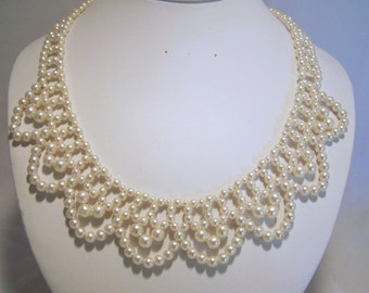 Faux Pearl Beaded Collar Necklace Woven Beads Gold Tone Setting Vintage Wedding Bridal Jewelry 616DG