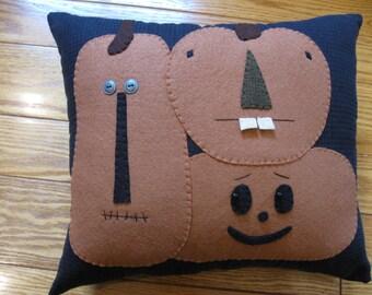 Primitive Folk Art Pumpkin Pals Pillow Halloween Fall Autumn Hand Stitched