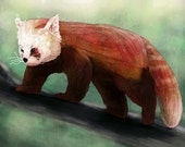 Red Panda Abstract Animal Giclee Archival Art Print