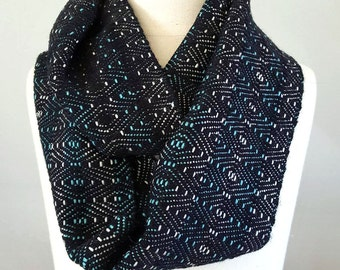 SALE - Handwoven Infinity Scarf Cowl - Teal, White + Black