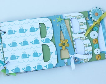 Baby boy scrapbook album, Baby shower gift, Premade scrapbook for baby boy, whales, trains- BB28