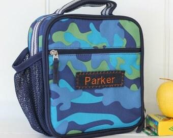 Lunch Bag With Monogram Pottery Barn Classic  -- Blue/Aqua Camo