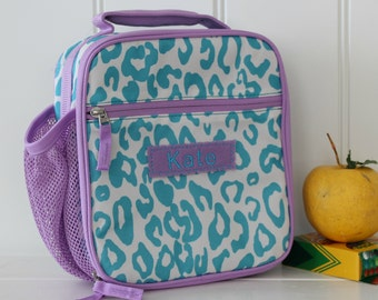 Lunch Bag With Monogram Classic Style Pottery Barn -- Aqua/Lavender Cheetah