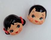 Ceramic Doll ; door knobs , handles - set of 2-