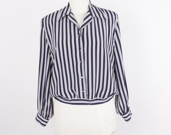 Red White Striped Sailor Shirt 70s Vintage Women Top Blouse