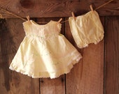 vintage yellow baby dress and bloomers  // size 3 to 6 months