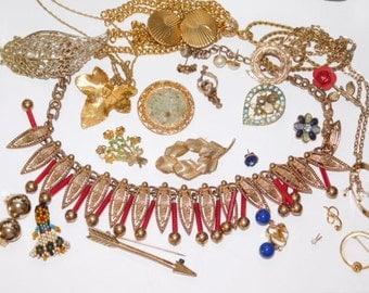 Vintage Destash jewelry lot for wear, repair reuse or repurpose
