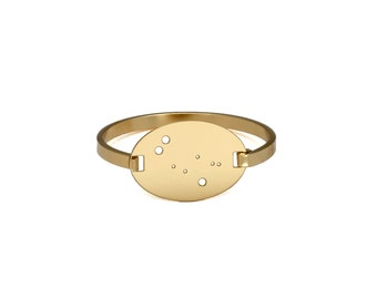 Gemini 14kt Gold Dipped Zodiac Constellation Oval Bracelet