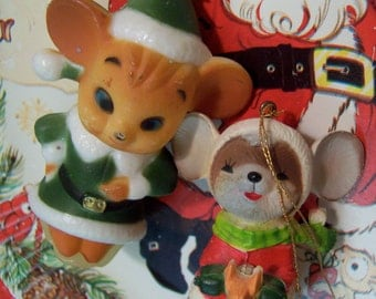 two adorable mice ornaments