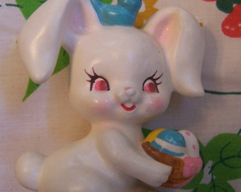sweet baby bunny and blue bird figurine