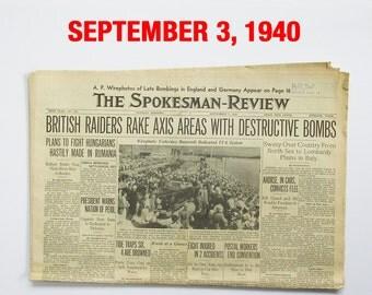 """September, 1940 Newspaper - Spokane, WA Spokesman-Review """"World War Two News"""""""