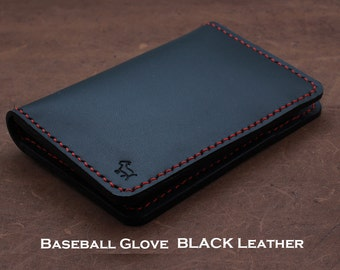 BLACK Baseball Glove Leather Slim Wallet {Hand Stitched}