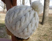 Knitted Beanie In Cream with Pompom