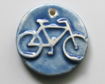 Handcrafted Ceramic Porcelain Blue Bike Bicycle Pendant