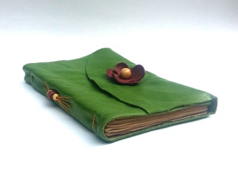 Green Leather Journal With Rose