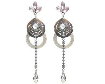 Long dangle earrings / Swarovski crystal earrings / handcarved shell earrings / long earrings / elegant rhinestone earrings / gifts for her