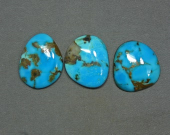 Turquoise cabochons set Kingman mine,  A-25