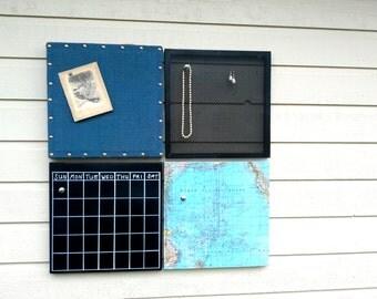 Office wall decor, 4 coordinating pieces, Calendar grouping, Burlap PinBoard, Magnetic ChalkBoard calendar,map magnet board, earring holder