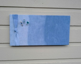 Ombre 100% Linen Pinboard, Nautical Beach styled Bulletin Board with hand dyed blue ombre design for your cottage or cabin
