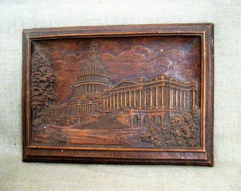 Vintage Faux Carved Wood Plaque of U.S. Capitol / Molded Bas Relief Plaque, U. S. Capitol - Washington, D. C.