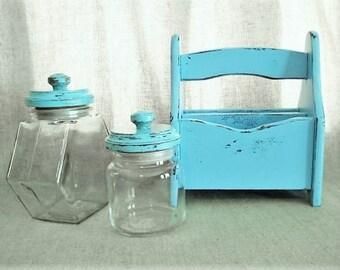 Shabby Beach House Blue Utensil/Napkin Caddy / Napkin Holder / Kitchen Storage and Organization /Outdoor Entertaining