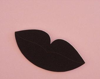 SALE Lips Brooch // Surreal Brooch // Pop Art Brooch // Black Lip Brooch