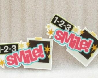 1 2 3 Smile Resin Flat back, Resin Flat back, 1 2 3 Smile Resin, School bows, Hair bows, Bows, Headbands, Bow Center, Smile resin
