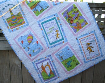 Dr Seuss Baby Girl Quilt Oh the Places You'll Go, Toddler Girl Bedding, Girl Nursery READY TO SHIP