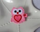 Valentine Heart Owl Hair Clip for Girls