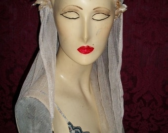 Antique 1910s 1920s Wedding Lace Veil Juliet Cap Veil