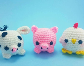 Farm Animal Toys - Crochet Farm Animals - Crochet Cow - Crochet Pig - Crochet Chicken - Baby Shower Gifts - Baby Animal Plushies - Toy Set
