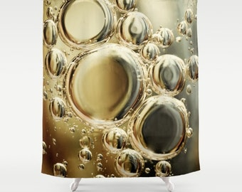 "Shower Curtain/ Gold Silver Abstract Bubbles/ / Photography Print / Bath Curtain/ Standard Size (71""x74"")"