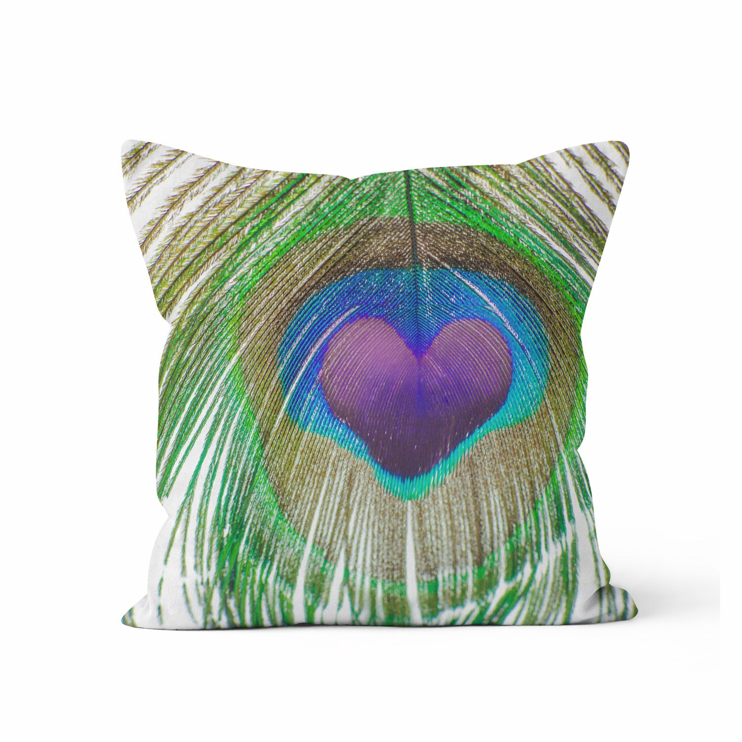 Throw Pillow Peacock : PEACOCK FEATHER LOVE Throw Pillow Case Peacock Home Decor