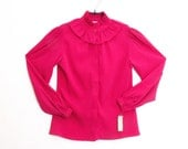 Victorian 80's Ruffle Neck Blouse + Raspberry Magenta + Nordstrom Deadstock by Blouseworks // size 8 Small to Medium