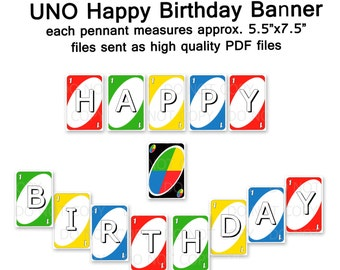Printable UNO Happy Birthday Party Banner  INSTANT DOWNLOAD