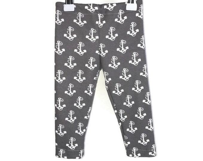 Leggings boy, White anchor on grey, leggings anchor, boys outfit, baby boy leggings, grey leggings, size newborn - 18 m