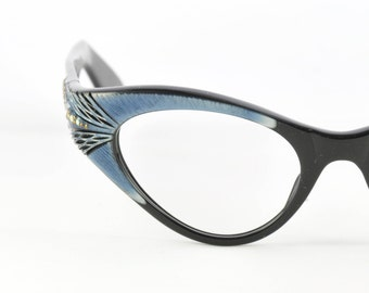 Gorgeous Swank Carved Wrap Around Cat Eye Glasses, NOS, Black with Blue Trim, 1950s, 1960s