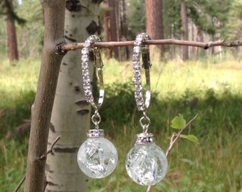 Clear Marble Earrings with Silver Diamond Lined French Hooks
