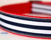 Nautical Stripe Dog Collar, Navy and White Stripe Dog Collar, Adjustable Dog Collar, Dog Collar