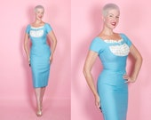 BOMBSHELL 1950s Robins Egg Blue Raw Silk Extreme Hourglass Cocktail Dress w/ Cream Silk w/ Polka Dot Gathered Shelf Bust & Hip Pockets - M