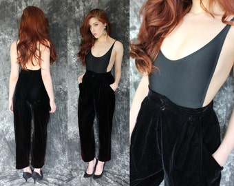 Vintage 1980s Black Velvet New Romantic High Waist Trousers