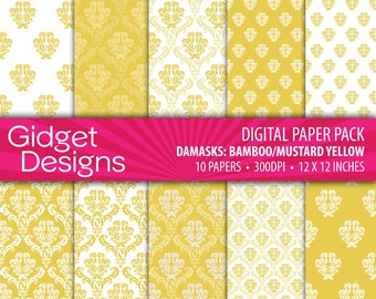 Yellow Digital Paper Pack Yellow Damask Paper Yellow Paper Instant Download Printable
