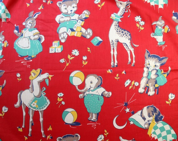 1930s vintage cotton red fabric novelty childrens print for Vintage childrens fabric prints