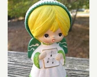 Darling ChalkWare Christmas  KeAne Inspired  Angel Choir Girl  Circa 1960s Made in Korea  Kawaii Cute
