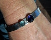 Iolite and Apatite Cuff Bracelet in Sterling Silver, READY TO SHIP