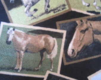 Horses with Beige Handmade Fleece Blanket - This Blanket is Ready to Ship Now